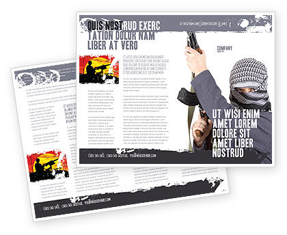 Terrorist Brochure Template, 03632, Military — PoweredTemplate.com