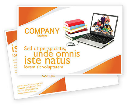 Computer Study Postcard Template, 03659, Education & Training — PoweredTemplate.com