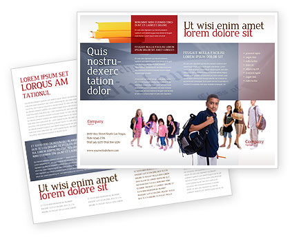 Secondary Schoolboy Brochure Template, 03662, People — PoweredTemplate.com