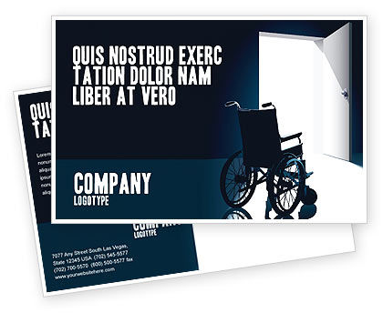 Medical: Wheelchair Postcard Template #03665