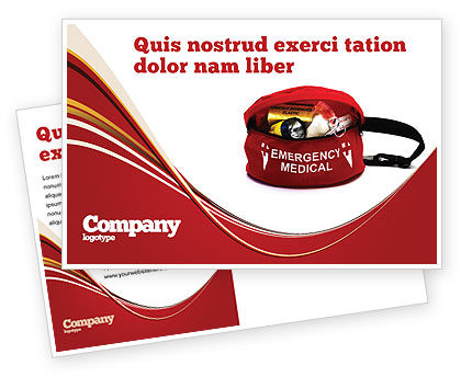 Medical Kit Postcard Template, 03674, Medical — PoweredTemplate.com