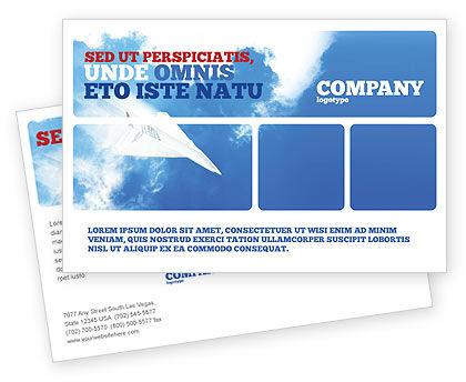 Business Concepts: 紙飛行機 - はがきテンプレート #03676