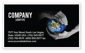 Protect the World Business Card Template, 03695, Global — PoweredTemplate.com