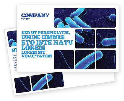 Bacteriology Postcard Template, 03702, Medical — PoweredTemplate.com