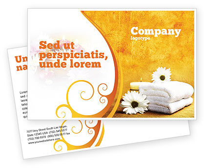 Bath Towels Postcard Template, 03713, Careers/Industry — PoweredTemplate.com