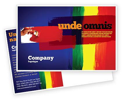 Art & Entertainment: Various Colors Of Paint Postcard Template #03714
