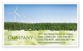 Nature & Environment: Wind Mills Business Card Template #03715