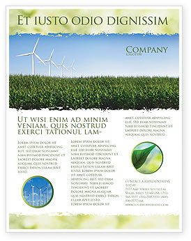 Wind Mills Flyer Template, 03715, Nature & Environment — PoweredTemplate.com