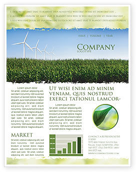 Wind Mills Newsletter Template, 03715, Nature & Environment — PoweredTemplate.com