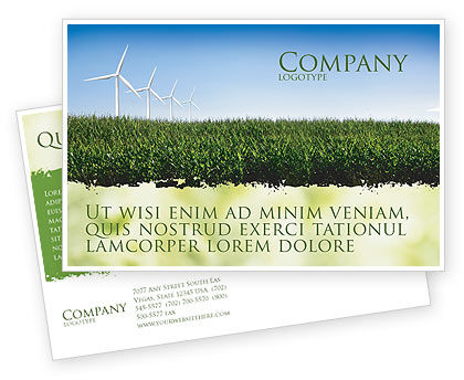 Wind Mills Postcard Template, 03715, Nature & Environment — PoweredTemplate.com