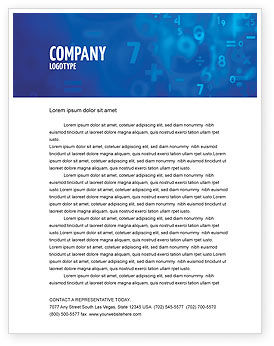 Blue Numbers Letterhead Template, 03718, Education & Training — PoweredTemplate.com
