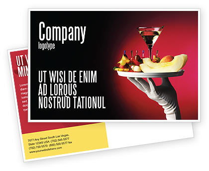 Snacks and Cocktail Postcard Template, 03722, Careers/Industry — PoweredTemplate.com