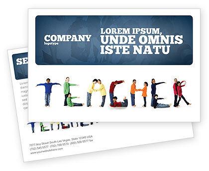 Teacher of Class Postcard Template, 03723, Education & Training — PoweredTemplate.com