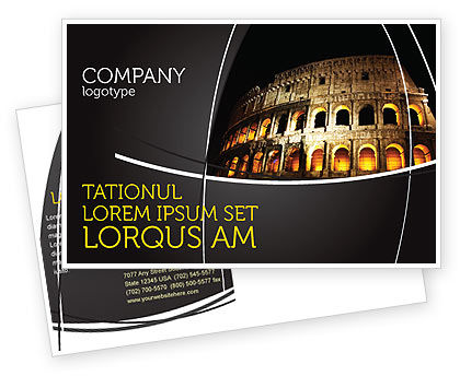 Construction: Coliseum Postcard Template #03724