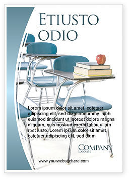 School Desk In A Classroom Ad Template, 03727, Education & Training — PoweredTemplate.com