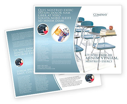 School Desk In A Classroom Brochure Template, 03727, Education & Training — PoweredTemplate.com