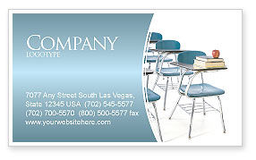 School Desk In A Classroom Business Card Template, 03727, Education & Training — PoweredTemplate.com