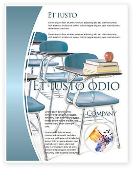 School Desk In A Classroom Flyer Template