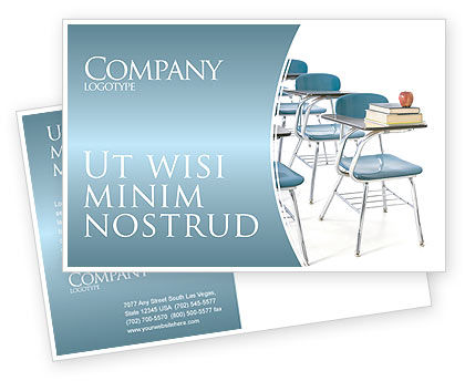 School Desk In A Classroom Postcard Template, 03727, Education & Training — PoweredTemplate.com