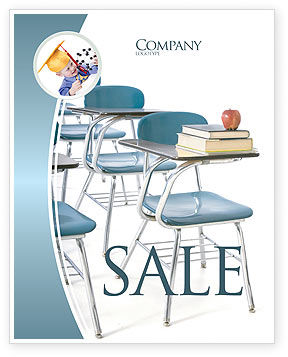 Education & Training: School Desk In A Classroom Sale Poster Template #03727