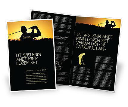 Golf Game On The Sunset Brochure Template