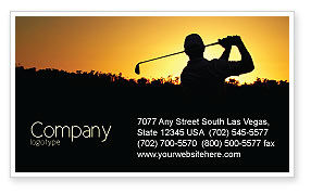 Sports: Golf Game On The Sunset Business Card Template #03731