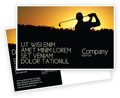 Sports: Golf Game On The Sunset Postcard Template #03731