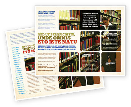 Student In The Library Brochure Template Design And Layout - Library brochure templates