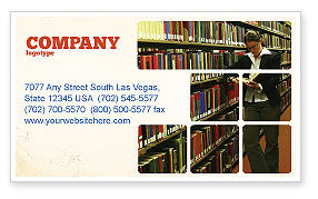 Student In The Library Business Card Template, 03732, Education & Training — PoweredTemplate.com