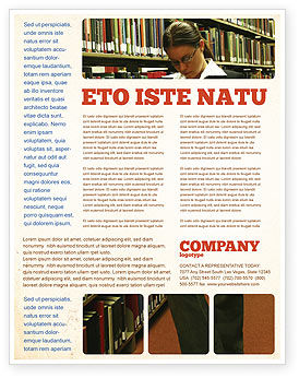 Education & Training: Student In The Library Flyer Template #03732
