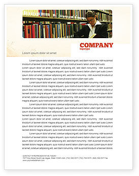 Student In The Library Letterhead Template, 03732, Education & Training — PoweredTemplate.com