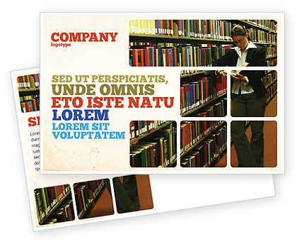 Education & Training: Student In The Library Postcard Template #03732