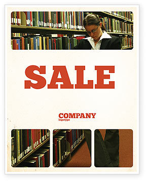 Student In The Library Sale Poster Template