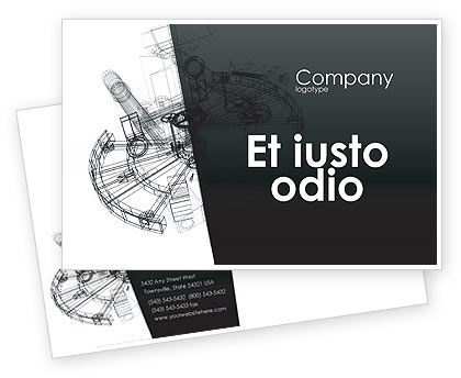 Construction: Construction Sketch Postcard Template #03740