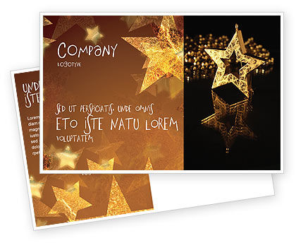 Holiday/Special Occasion: Gold Star Postcard Template #03748