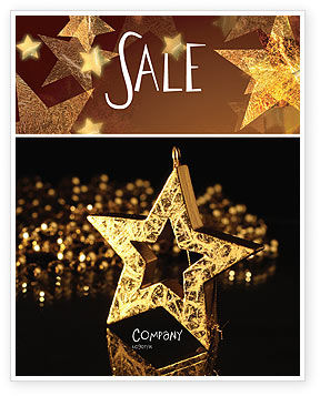 Gold Star Sale Poster Template, 03748, Holiday/Special Occasion — PoweredTemplate.com