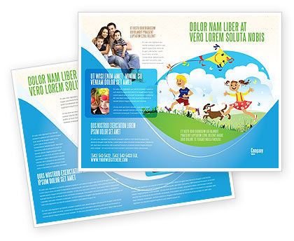 Happy Childhood Brochure Template, 03756, Education & Training — PoweredTemplate.com
