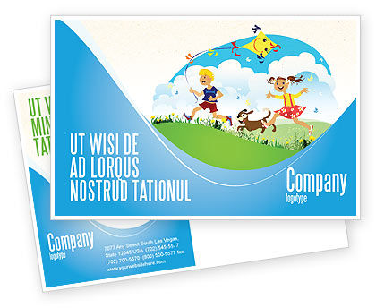 Happy Childhood Postcard Template, 03756, Education & Training — PoweredTemplate.com