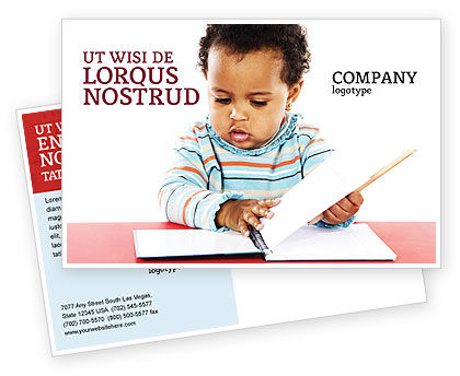 Kid Learning Postcard Template, 03759, Education & Training — PoweredTemplate.com
