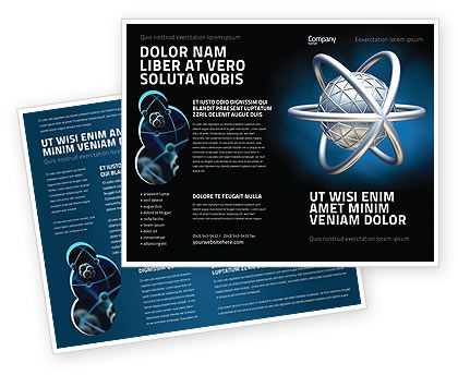 Atom Model Brochure Template, 03763, 3D — PoweredTemplate.com