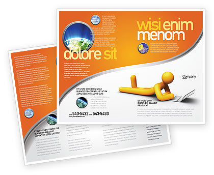 Education & Training: Modèle de Brochure de orange man avec ordinateur portable #03773
