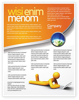 Education & Training: Orange mann mit laptop Flyer Vorlage #03773