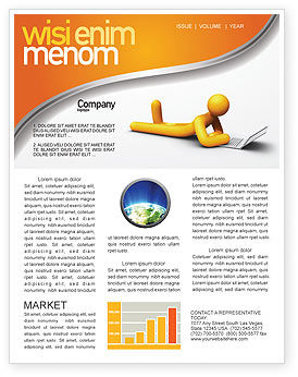 Education & Training: Orange Man With Laptop Newsletter Template #03773