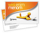 Education & Training: Orange Man With Laptop Postcard Template #03773