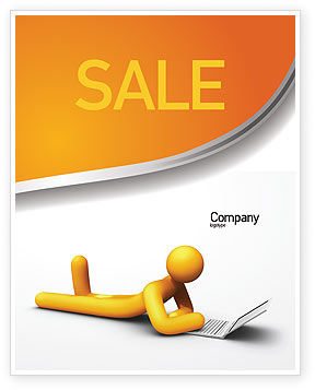 Education & Training: Orange Man With Laptop Sale Poster Template #03773