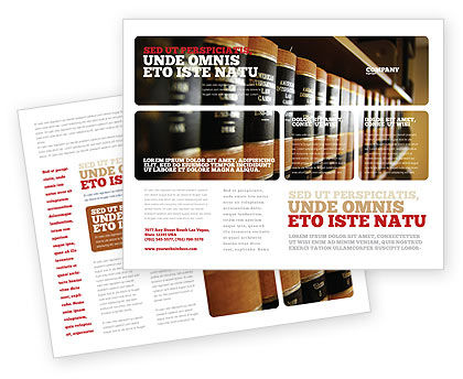 Law Books Brochure Template, 03787, Education & Training — PoweredTemplate.com