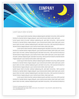 Starry Night Letterhead Template, 03794, Abstract/Textures — PoweredTemplate.com