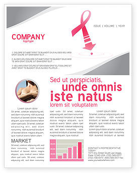 Medical: Breast Cancer Ribbon Newsletter Template #03816