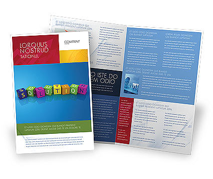 Solution 3D Brochure Template, 03819, Education & Training — PoweredTemplate.com