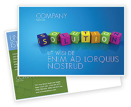 Solution 3D Postcard Template, 03819, Education & Training — PoweredTemplate.com